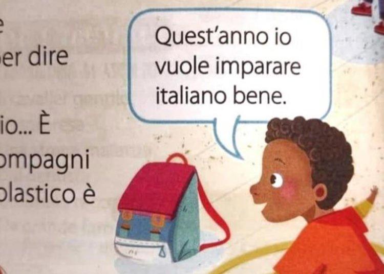 Nel Libro di scuola si legge Io vuole imparare italiano è polemica