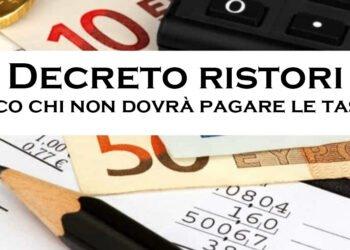 Decreto Ristori, ecco chi non dovrà pagare le tasse